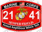 STICKER USMC MOS 2141 AAV TECH   ooo   USMC Lisc 20187