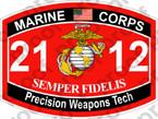 STICKER USMC MOS 2112 Precision Weapons Tech   ooo   USMC Lisc 20187