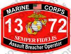 STICKER USMC MOS 1372 Assault Breacher Operator   ooo   USMC Lisc 20187