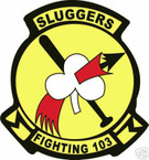 STICKER USN VF 103 FIGHTER SQUADRON SLUGGERS