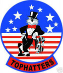STICKER USN VF  14 FIGHTER SQUADRON TOPHATTERS 2ND