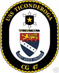 STICKER USN US NAVY CG 47 USS TICONDEROGA CRUISER