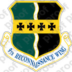 STICKER USAF 9th Reconnassiance Wing B