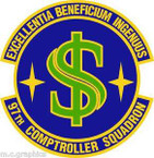 STICKER USAF 97th Comptroller Squadron Emblem