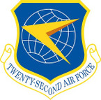 STICKER USAF 22ND AIR FORCE SHIELD