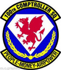 STICKER USAF 100th Comptroller Squadron Emblem