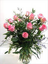One Dozen Pink Roses