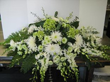 White and Green Casket Spray