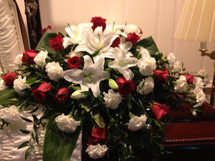 Roses & Lilies Casket Spray