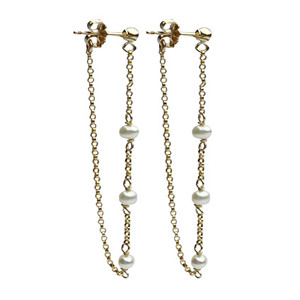 "•Freshwater pearl and chain ""thread"" earring •Post backing •14k gold-filled •2"" long •Handmade with white freshwater pearls •Ships with Viv & Ingrid signature fabric jewelry pouch"
