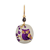 Holly Yashi Wise Owl Earrings (Sage/Purple)
