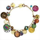"Colorful patterned medallions dance on your wrist, creating their own soft melody as you move.  •Niobium, gold filled, as shown •European crystal, Bohemian glass and freshwater pearl •Gold overlay chain, as shown •7 1/2"" long"