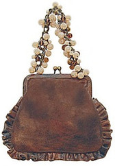 Liz Soto Small Brown Distressed Leather Handbag