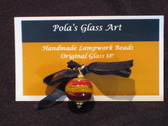 Glass Art Jewelry by Pola Galindo - Glass Bead Pendant in Dark Yellow & Rust