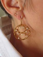 Flying Lizard Design - Circle Earring w/Bubbles & Pearls