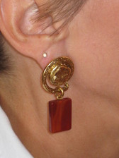 J Jansen Designs - 24K Gold Plated Earring w/Carnelian Dangle
