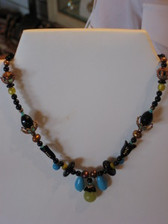 Joli Jewelry - Limited Edition Blk Onyx, Olive Jade & Pearl Necklace