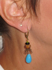 Joli Jewelry - Blue Turquoise & Brown Glass Bead Earrings