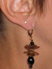 Joli Jewelry - Double Flower Earring with Black Beads