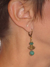 Joli Jewelry - Turquoise Bead & Gold Scroll Earring