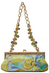 Lime Green Silk Print Handbag