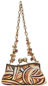Brown Patterened Silk Print Handbag