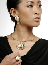 J Jansen Designs - 24kt Gold Plated Collar Necklace with Swirl Encased Mother-of-Pearl