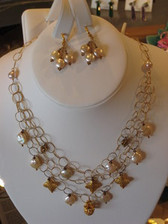 Andrea Barnett Jewelry - Three Layer Gold Filled Chain w/Pink Coin Pearl & Vermeil Crosses/Crown