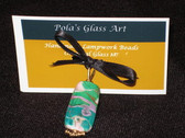 Glass Art Jewelry by Pola Galindo - Turquoise Color Glass Bead Necklace Pendant