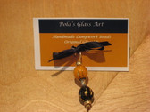 Glass Art Jewelry by Pola Galindo - Glass Necklace Barbell Pendant