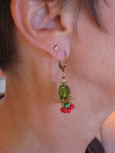 Joli Jewelry -  Green Glass Bead/Red Berry Earrings