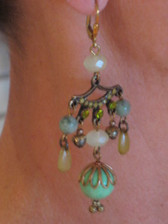 "Joli Jewelry - Ornate Mint Green ""Bollywood"" Chandelier Earring"