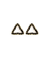 "Viv & Ingrid added to their bestselling Post Earrings collection with these unique Pave Posts, now in Jet CZ! •.25"" 14k gold vermeil posts with jet CZ pave •Triangle shape •Post backing •Comes with Viv & Ingrid signature fabric jewelry pouch"
