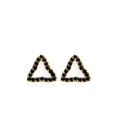 """Viv & Ingrid added to their bestselling Post Earrings collection with these unique Pave Posts, now in Jet CZ! •.25"""" 14k gold vermeil posts with jet CZ pave •Triangle shape •Post backing •Comes with Viv & Ingrid signature fabric jewelry pouch"""