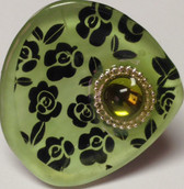 Ring top handmade of durable resin in Bulgaria.  Accent rhinestone is lime green with silver bezel.
