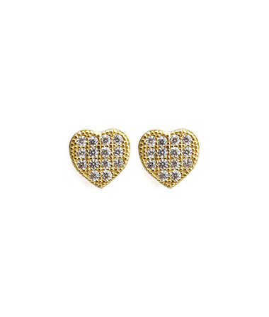"14k gold vermeil Pave Posts with CZ crystals Small heart shape Posts measure approximately .25"" Post backing Ships on Viv & Ingrid signature earring bag"
