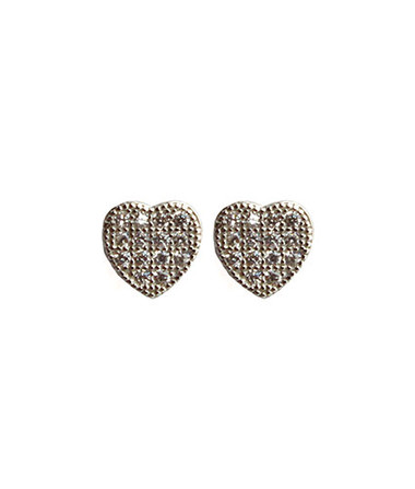 "Delicate pave post earrings: Rhodium plated 925 sterling silver Pave Posts with CZ crystals Small heart shape Posts measure approximately .25"" Post backing Ships on Viv & Ingrid signature earring bag"