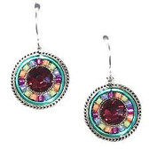 - Sterling silver French shepherd hook ear wires - Center of round design is a large conical faceted fuchsia Swarovski crystal - Around the sparkling fuchsia crystal center are rotating colors of lavender, pink, salmon & light green Czech fire polished beads -  The round design is finished with a light teal colored border and rope silver plated design outermost - Brass with silver plated findings for earring form