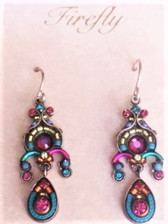 - Sterling silver French shepherd hook ear wires - This delicate mosaic earring is set off with fuchsia colored Swarovski crystal beads at the top, center of the design, as well as at the bottom inside the teardrop shape.  - Other color complements include teal that includes cord used inside the frame of teardrop bottom, as well as teal metal as part of middle design frame.  Fuchsia metal used to offset middle design frame. - More colors within are turquoise, lavender, tangerine & citrine Czech fire polished beads and teal, citrine, & ruby red Swarovski crystals. - Brass with silver plated findings for earring form