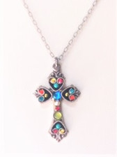 """- 16"""" steel metal necklace chain plus another 2"""" extender  - Cross points left & right each have teal & tangerine Swarovski crystals positioned inverse of each other  - Inward of teal & tangerine left & right crystal points is a gold bead - Top & bottom cross points each have a red & yellow Swarovski crystal positioned inverse of each other  - Inward of top & bottom point's red & yellow crystals is a round turquoise Czech fire polished bead  - Cross center is an iridescent round blue bead, then white pearl, then ruby crystal, and ending with a frosted round lime bead - Brass with silver plated findings for pendant form"""