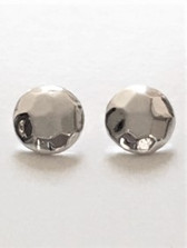 Button design with hammered features - post earring E2804/P Lightweight 925 Sterling silver Made in Israel by Simon Sebbag Designs