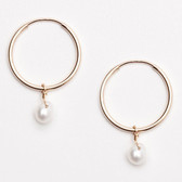 "Viv & Ingrid .75"" White Pearl Drop Hoop - JUNE Birthstone Earrings (silver)"