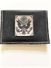 "Soft pebble grain black leather Size:  4.25"" x 3"" American Eagle leather artwork patch sewn to pouch Snap envelope closure in back Handmade in Los Angeles by KBD Design"