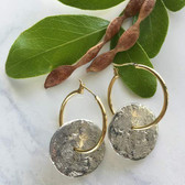 J Jansen Designs -  Hoop Earring #700 in Gold with Silver Textured Circles