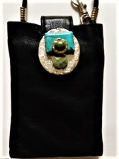 "Made of soft black Italian leather - pouch size is 4"" x 5.5"" - 48"" continuous long round nylon strap with 24"" drop that hits approx. hip level - artistic design in textured non-tarnish silver finish & 24 Kt. gold plated metal - one 1"" x 3/4""  rectangular turquoise piece; one smaller teardrop faceted turquoise piece; one oval shaped smooth turquoise piece - lobster claw key finding at top of purse - inside pouch  - back pouch pocket with tab closure for pouch front The look of jewelry with functionality!  Perfect for travel evenings out, weddings, work functions, special occasions"