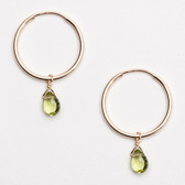 "Viv & Ingrid .75"" Peridot Drop Hoop - AUGUST Birthstone Earrings (gold)"
