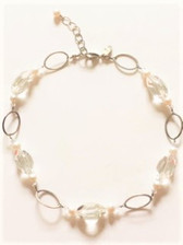 """15"""" choker style necklace in sterling silver 2"""" attached extender Lobster claw fastener Elements:  Large faceted crystal clear quartz beads, freshwater pearls, Swarovski crystal beads & sterling silver  Maker's mark tag by lobster claw fastener By House of Ruth"""