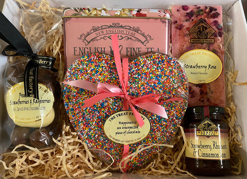 Mother's Day Gift Treat Hamper Box Gourmet Chocolates, Tea and Condiments.