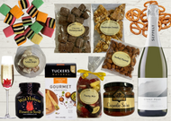 Celebration Gourmet Food Hamper. Nibbles, nuts, chocolate, confectionary and bubbles.  Berry Australia. The Treat Factory.