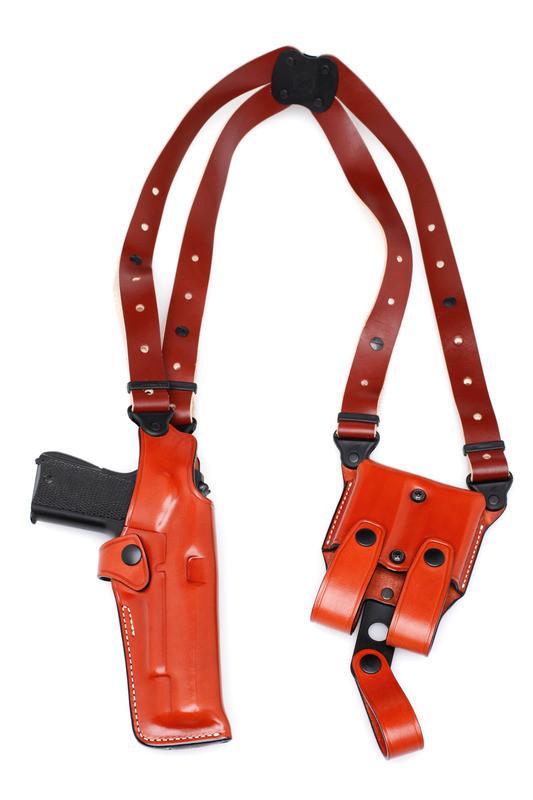 Premium VERTICAL Leather Shoulder Holster Set